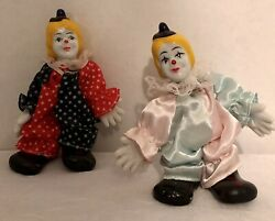 """5"""" Standing Clown Doll, Lot Of 2 Porcelain Face Hands And Shoes Vintage Wear Use"""