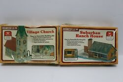 Lot Of 2 Life Like N Scale Village Church And Suburban Rach House Sealed