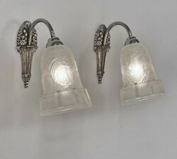 Hettier And Vincent Pair Of French 1925 Art Deco Wall Sconces ..... Lamp France