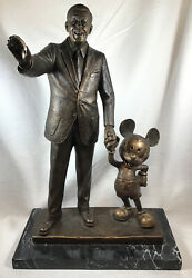 Blaine Gibson Walt Disney And Mickey Mouse Cold Cast Bronze Partners Statue Htf
