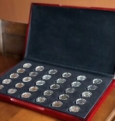 2009 Us State Quarters Territories Clad Proof Set With Wood Box 30 Coins