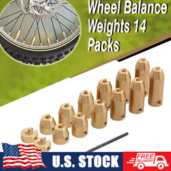 Packed 14 Universal Motorcycle Wheel Spoke Balance Weights Brass Reusable 7-size