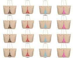 Wholesale Lot of 16 Eiffel Tower Canvas Totes Bags Paris Shopping Beach Handbags $59.00