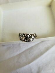 Antique Solid Sterling Silver Spoon Ring Handcrafted Size 7.5 Wrap Ornate Fruit