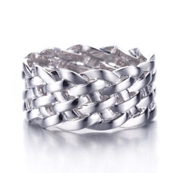 Solid 10k White Gold Fashion Fine Jewelry Band Twisted Rope Setting Rings 11