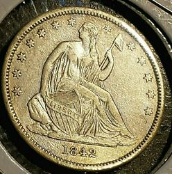 1842 Usa Seated Liberty Half Dollar No Motto Small Date Large Letters Au