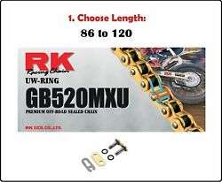 Rk Chains 520 Mxu Xring Sealed Motorcycle Drive Chain Gold With Clip Master Link