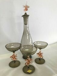 Vintage-bimini Style Glass Blown Dancing Elephant Decanter And Glass Set