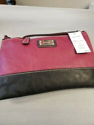 Nine West Designer Bags Fold Crossbody Cranberry Black $18.99