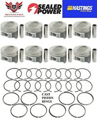 Ford Mercury 460 Sealed Power Dish Top Pistons 8 With Hastings Rings 68 - 87