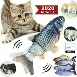 12quot; Electric Moving Cat Kicker Fish Toy Realistic Flopping Fish Wiggle Toys US