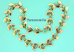 And Co. Necklace Chain Leaf Flower Rose Green Gold 14k 15.5 38g And Box