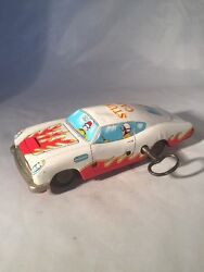 Vintage Wind Up Tin Plate Stunt Car Working Flips Made In Japan