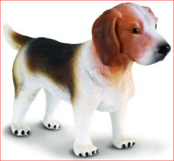 BEAGLE DOG FIGURINE WHITE BLACK amp; BROWN STANDING ANIMAL PET TOY COLLECTA NEW