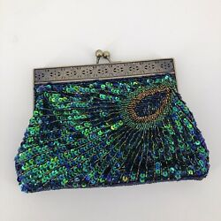 Peacock Beaded Sequin Evening Clutch Bags Cross Body Party Purse $19.99