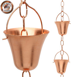 Copper Rain Chain Decorative Chimes And Cups Replace Gutter Downspout 6.5 Ft