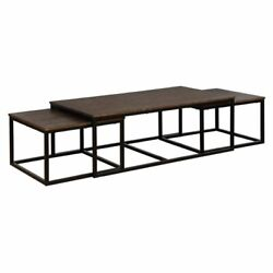 Alaterre Arcadia Acacia Wood 54 Coffee Table With Nesting Tables-antiqued Mocha