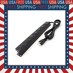 Power Strip With 6 Outlets 6 Ft Ul 14awg Cord Straight Plug For Commercial Indus