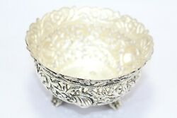 Handmade Dish Bowl Oxidized 925 Sterling Solid Silver India Hand Engraved F