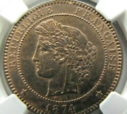 France 10 Centimes 1874-k Ngc Ms 65 Rb. Probably Finest Known