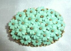 Vintage Celluloid Daisy Violets Forget Me Not Miriam Haskel Flower Brooch Pin