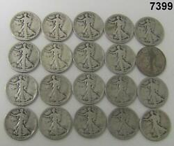 Roll Of 20 Early Walking Liberty Halves 8-1918 12-1920 90 Silver Marked7399