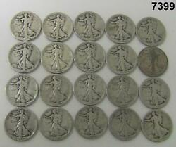 Roll Of 20 Early Walking Liberty Halves 8-1918, 12-1920 90 Silver Marked7399