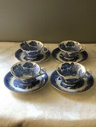 4 Antique Blue Willow Royal Grafton Bone China Tea Cups And Saucers Light Blue