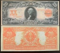 Reproduction George Washington 20 Bill Gold Certificate Us Currency 1906 Copy