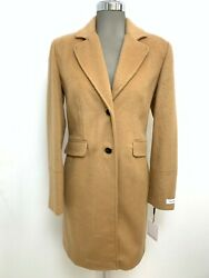 Calvin Klein Nwt Modern Camel Wool Blend Single Breasted Coat Size 8