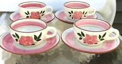 Stangl Pottery Usa Pottery 4 Cups And Saucers Wild Rose Retro Kitchen Ware China