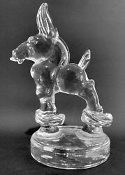 Heisey Glass Animal Crystal Clear Democratic Donkey Mule On Bust Off Rare / Htf