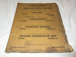 Vtg Le Roi Parts And Instruction Book Vrf1-12 Vrf112 Engine 1933 Booklet Manual Rv
