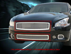 Mesh Grille Front Grill Combo Stainless Steel For 2009-2014 Nissan Maxima