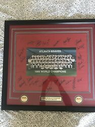 1995 Atlanta Braves World Series Autograph Matted And Framed Maddux 25x27