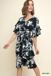 Sml Bluheaven By Umgee Navy Floral Tie Waist Ruffle Sleeves Dress/tunic Bhcs