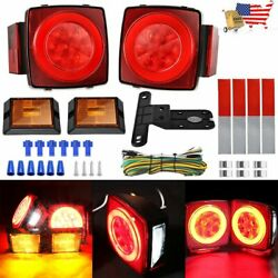 Clear Lens Led Submersible Trailer Light Stop Turn Tail License Kit Boat Marine