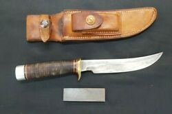 Vintage Randall Model 3-6 Hunter Knife With Heiser Leather Sheath And Stone