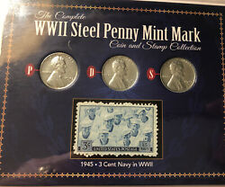 1943 P,d,s, Cents War Time Steel Pennies Set -- And 3c Stamp
