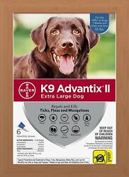 K9 Advantix II Flea amp; Tick Treatment for Extra Large Dogs Over 55 lbs 6 Pack $37.90