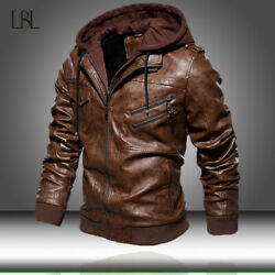 Menand039s Pu Leather Jacket Motorcycle Hood Winter Coat Warm Casual Bomber Jackets