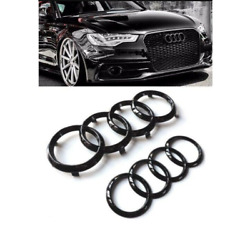 Audi Rings Hood Grille Trunk Boot + Rear A7 Emblem + Quattro Badge Glossy Black