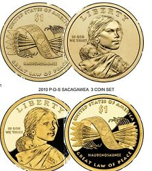2010-p-d-s 1 Sacagawea/native American Dollar 3 Coin Set Proof And Uncirculated