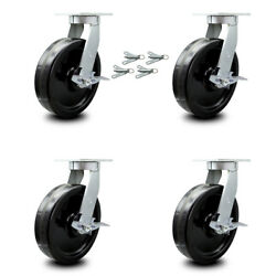 """Scc 12"""" Extra Heavy Duty Phenolic Caster Set-swivel Casters W/brakes And Bsl-set 4"""