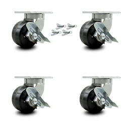 """Scc 6"""" Extra Heavy Duty Phenolic Caster Set-swivel Casters W/brakes And Bsl-set 4"""