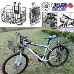 Universal Black Vintage Bicycle Basket Folding Iron Bike Storage Rack Front Rear