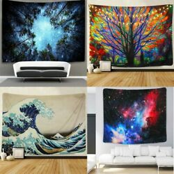 Bohemian Tapestry Wall Hanging Planet Galaxy Bedspread Waves Tree Home Art Decor