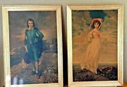 Large1950'sthomas Gainsborough Blue Boy Pinkie Lawrence Framed Reproductions