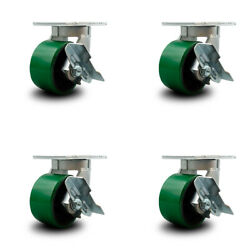 """6"""" Extra Heavy Duty Green Poly On Cast Iron Caster Set-swvl Casters W/brk-set 4"""