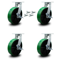 """12"""" Extra Heavy Duty Green Poly On Cast Iron Caster-swvl Casters W/brkandbsl-set 4"""